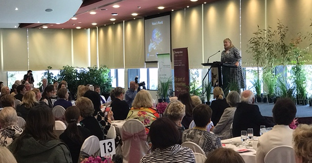 Women Inspiring Business Lunch Moira on stage
